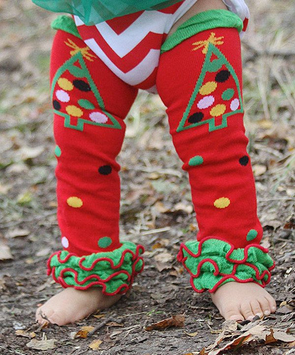 LEG WARMERS - CHRISTMAS TREE WITH RUFFLES - Sequins 'n Seashells Boutique