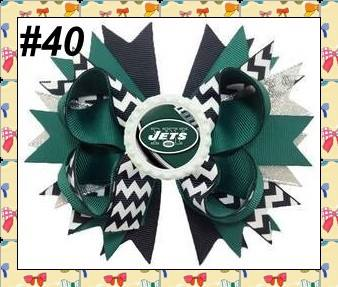 NFL BOTTLECAP HAIR BOW - JETS #40 - Sequins 'n Seashells Boutique