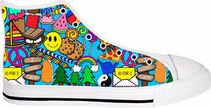 I Love Camp White High Tops - Sequins 'n Seashells Boutique