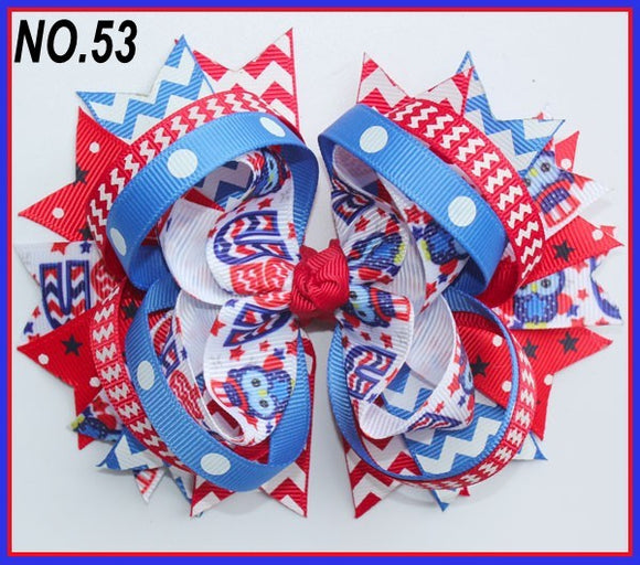 CHARACTER HAIR BOWS - PATRIOTIC OWLS #53 - Sequins 'n Seashells Boutique