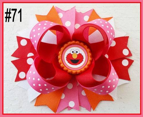 CHARACTER BOTTLE CAP HAIR BOWS - #71 - Sequins 'n Seashells Boutique