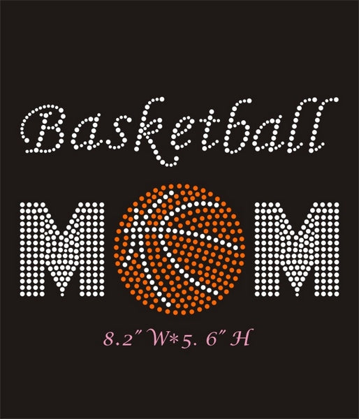 RHINESTONE TRANSFER - BASKETBALL MOM - Sequins 'n Seashells Boutique