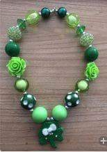 ST PATRICKS DAY CHUNKY BEAD NECKLACE #2 - Sequins 'n Seashells Boutique