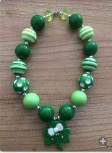 ST PATRICKS DAY CHUNKY BEAD NECKLACE #1 - Sequins 'n Seashells Boutique