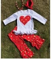 VALENTINES DAY GIRLS RED / GOLD HEART OUTFIT - Sequins 'n Seashells Boutique