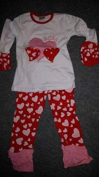 VALENTINES DAY GIRLS HEART OUTFIT - Sequins 'n Seashells Boutique