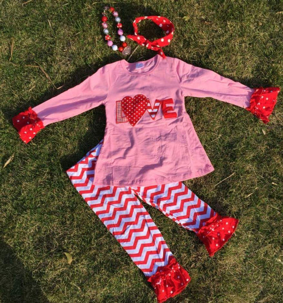 VALENTINES DAY GIRLS LOVE OUTFIT - Sequins 'n Seashells Boutique