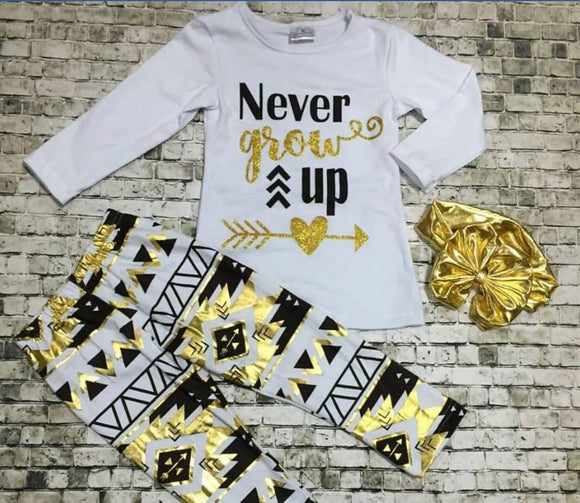 GIRLS OUTFIT - NEVER GROW UP - Sequins 'n Seashells Boutique
