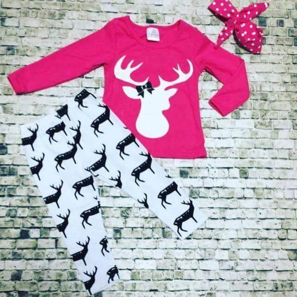GIRLS OUTFIT - HOT PINK DEER - Sequins 'n Seashells Boutique