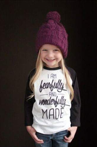 GIRLS BASEBALL RAGLAN - I AM FEARFULLY AND WONDERFULLY MADE - Sequins 'n Seashells Boutique