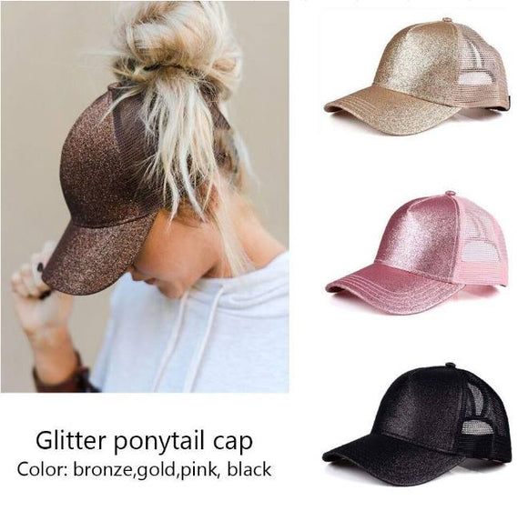 PRE-ORDER - GLITTER PONYTAIL CAPS - CLOSES WHEN GROUP MOQ IS MET - Sequins 'n Seashells Boutique