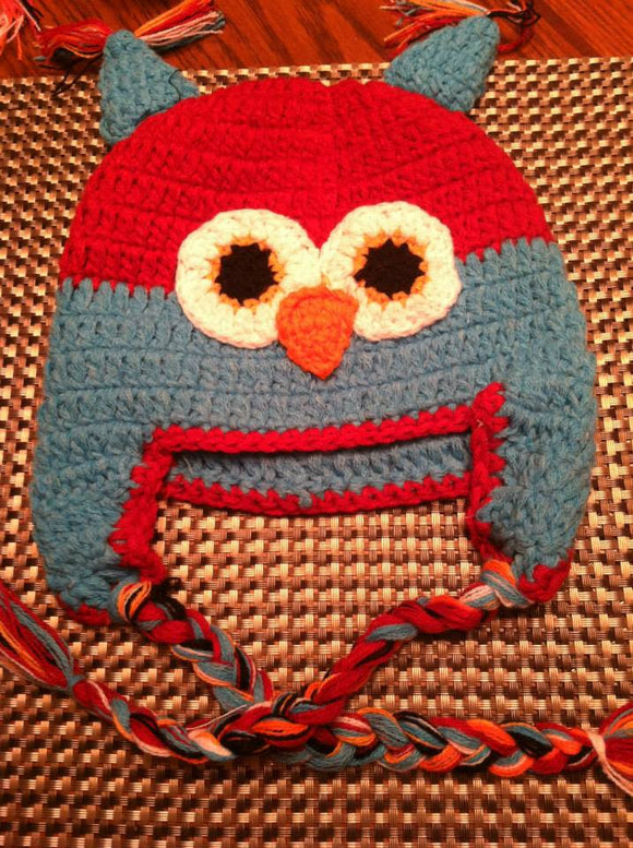 CROCHET HAT - RED / TURQUOISE OWL - Sequins 'n Seashells Boutique