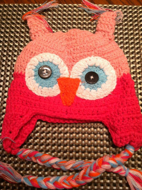 CROCHET HAT -  PINK ON PINK OWL - Sequins 'n Seashells Boutique