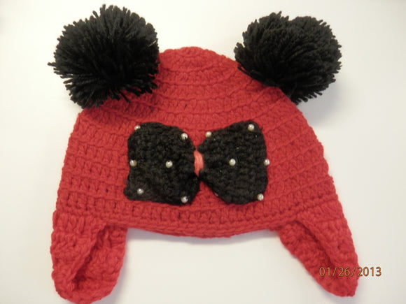 CROCHET HAT - RED / BLACK MINNIE - Sequins 'n Seashells Boutique