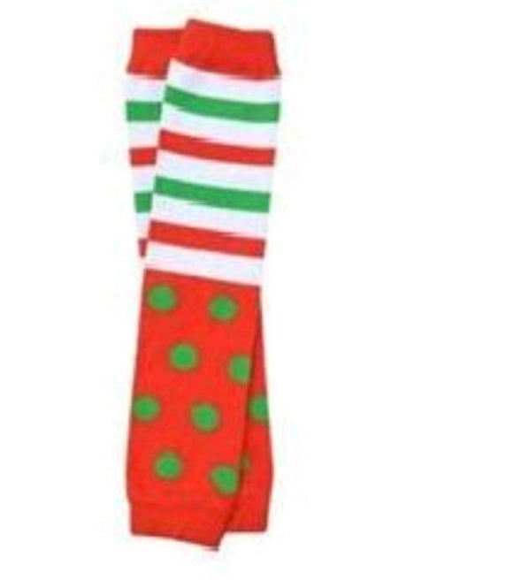 LEG WARMERS - CHRISTMAS POLKA DOT & STRIPES - Sequins 'n Seashells Boutique