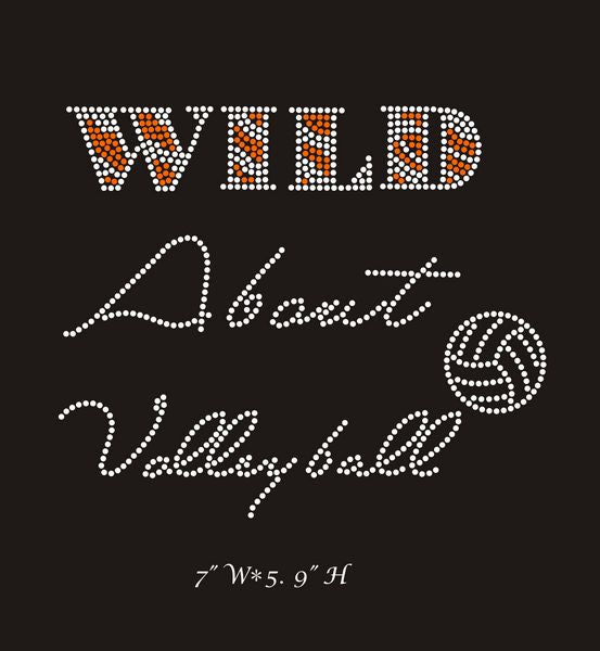 RHINESTONE TRANSFER - WILD ABOUT VOLLEYBALL - Sequins 'n Seashells Boutique