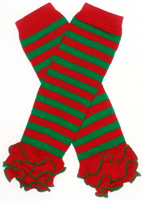 LEG WARMERS - CHRISTMAS - RED / GREEN STRIPES WITH RUFFLES - Sequins 'n Seashells Boutique