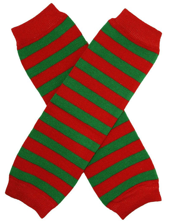 LEG WARMERS - CHRISTMAS - RED / GREEN STRIPES - Sequins 'n Seashells Boutique