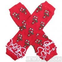 LEG WARMERS - CHRISTMAS CANDY CANES RED - WITH RUFFLES - Sequins 'n Seashells Boutique
