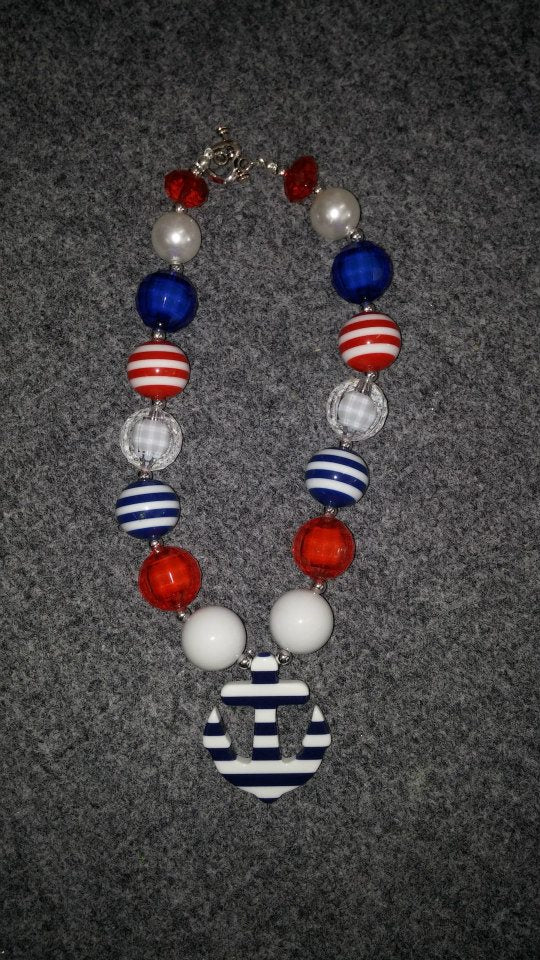 PATRIOTIC CHUNKY BEAD NECKLACE #1 - Sequins 'n Seashells Boutique