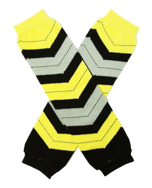 LEG WARMERS - BLACK / YELLOW / GRAY MULTI COLOR - CHEVRON - Sequins 'n Seashells Boutique