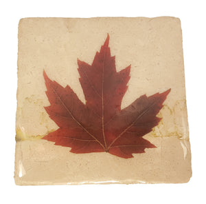 Maple Leaf White Marble Coaster
