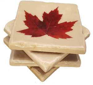 Set of 4 Maple Leaf White Marble Coasters