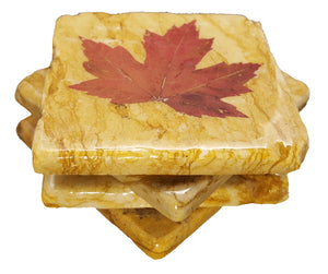 Set of 4 Maple Leaf Yellow Marble Coasters