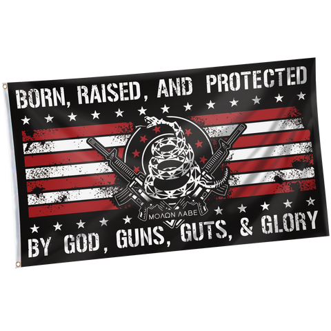 Tactical Xmas Stocking with 3x5' Born Raised And Protected By God 2nd Amendment Flag + Punisher Pin