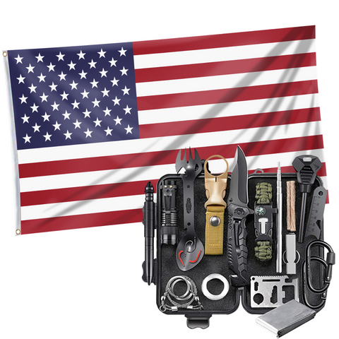 United States of America - American Flag + Emergency EDC Survival Tools 24 in 1