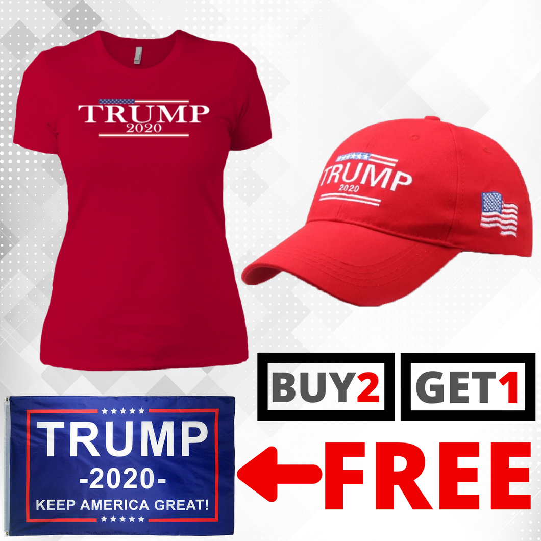 Trump 2020 USA Flag Womens T Shirt and Hat + Free Trump Paracord Bracelet Combo Deal