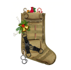 Tactical Xmas Stocking - Family Xmas Stockings with 3x5' Born Raised And Protected By God 2nd Amendment Flag