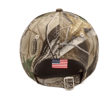 Load image into Gallery viewer, Trump 2020 Flag Bill USA Flag Hat and Trump 2020 Mossy Oak Camo Hat + Free Rally Flag and Sticker Combo Deal