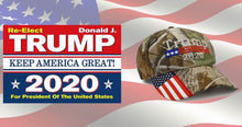 Load image into Gallery viewer, Trump 2020 Flag and Camo Mossy Oak Hat - Trump 2020 Rally Flag w/ Embroidered Camo Mossy Oak Hat - Bundle Deal