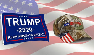 Trump 2020 Flag and Camo Mossy Oak Hat - Trump 2020 Rally Flag w/ Embroidered Camo Mossy Oak Hat - Bundle Deal