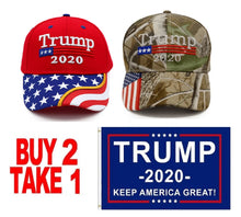 Load image into Gallery viewer, Trump 2020 Red Flag Bill and Mossy Oak Camo Hats - 2 Trump Hat + FREE Trump2020 Keep America Great Rally Flag Combo Deal