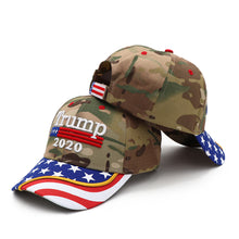 Load image into Gallery viewer, Trump 2020 Camo Flag Bill Hat - USA Flag Trump Hat