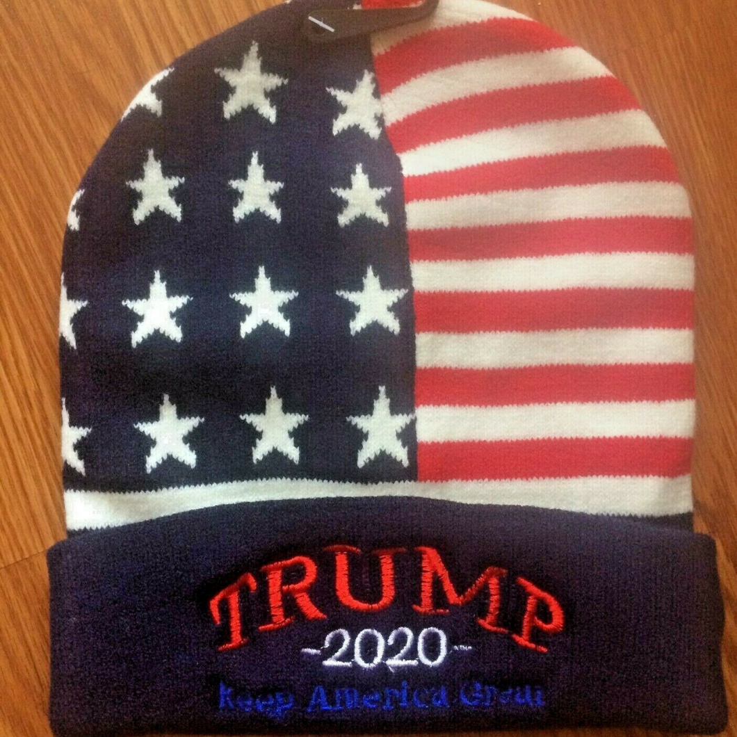 Trump 2020 Winter Keep America Great Red White and Blue Soft Hat Beanie