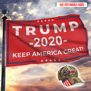 Keep America Great Trump 2020 Red - Flag with Trump 2020 Camo Hat - Bundle