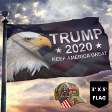 Load image into Gallery viewer, LIMITED EDITION Trump 2020 Keep America Great - American Eagle Flag + Trump Camo Hat Combo