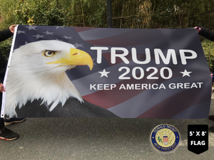 LIMITED EDITION Trump 2020 Keep America Great - American Eagle Flag With FREE Trump 45th Pin