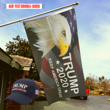 Load image into Gallery viewer, LIMITED EDITION Trump 2020 KAG - American Eagle Flag + Trump KAG 2020 Hat Bundle
