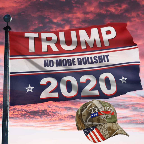 Keep America Great Flag - Trump No More Bullsh*t 2020 Flag + Trump Camo Hat Bundle Deal