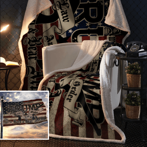 Trump 2020 Law and Order 2nd Amendment Sherpa Blanket - 50x60 + Free Matching 3x5' Single Reverse Flag