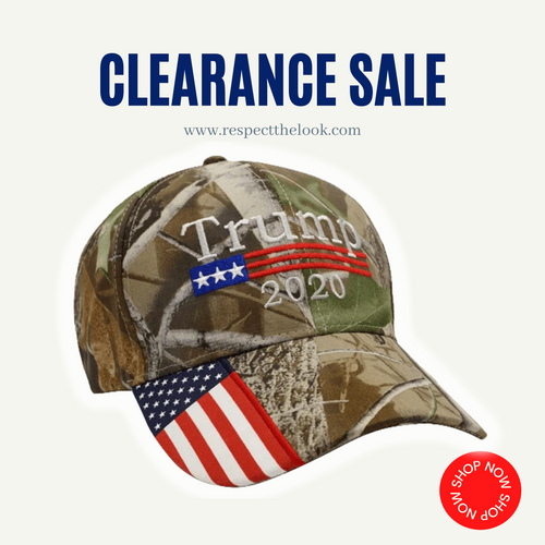 (CLEARANCE) Trump 2020 Hat Camo with American Flag