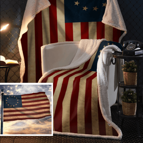 Betsy Ross Flag Sherpa Blanket - 50x60 + Free Matching 3x5' Single Reverse Flag