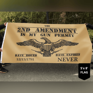 2nd Amendment My Gun Permit Brown 3x5 Flag
