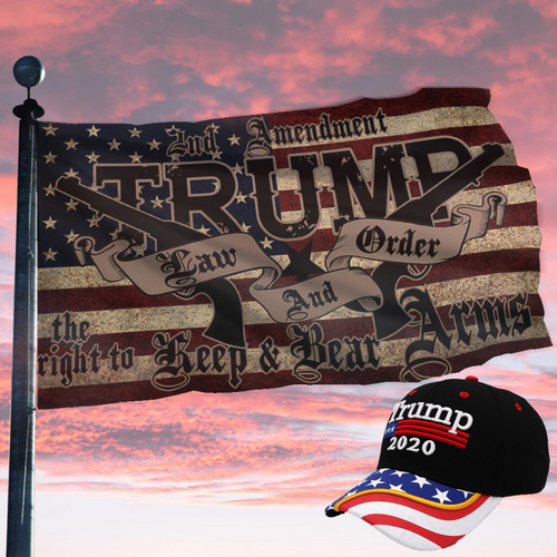 Trump Exclusive Bundle - Law and Order Flag + Trump Flag Bill Hat Combo