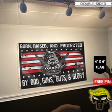 Load image into Gallery viewer, Born Raised And Protected By God Guns Guts And Glory - 2nd Amendment Flag + Trump Punisher Pin
