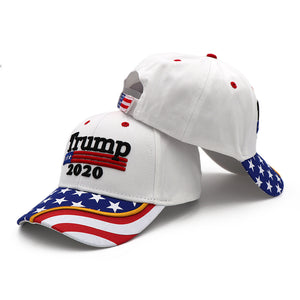 Trump 2020 White Flag Bill and Mossy Oak Camo Hats - 2 Trump Hats + FREE Trump Keep America Great Rally Flag Combo Deal